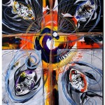 Born of Light and Dark the Four Fishes  Modern Abstract Fish Art Artwork Paintings J Vincent Scarpace