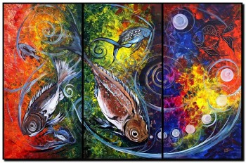 Primitive Fish and Eight  Modern Abstract Fish Art Artwork Paintings J Vincent Scarpace