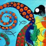 The Miracle of the Mustached Faced Seven Tentacled Octopus  Modern Abstract Fish Art Artwork Paintings J Vincent Scarpace