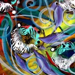 Quatro Cinco de Mayo Pesces  Modern Abstract Fish Art Artwork Paintings J Vincent Scarpace