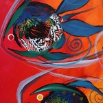 Pissy McGee  Modern Abstract Fish Art Artwork Paintings J Vincent Scarpace