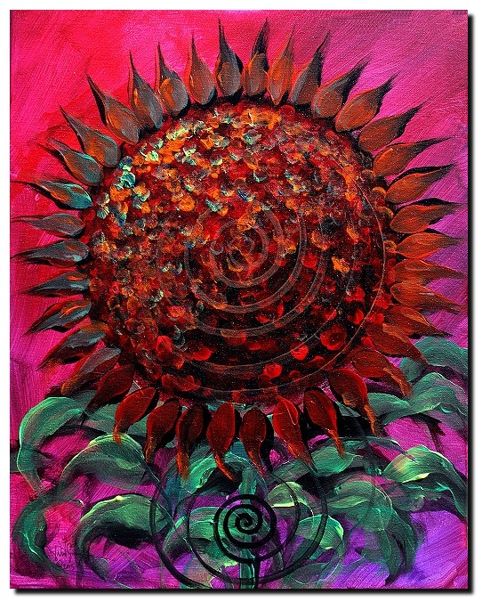 The Redfield Redflower  Modern Abstract Fish Art Artwork Paintings J Vincent Scarpace