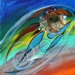 The Third Kiss  Modern Abstract Fish Art Artwork Paintings J Vincent Scarpace
