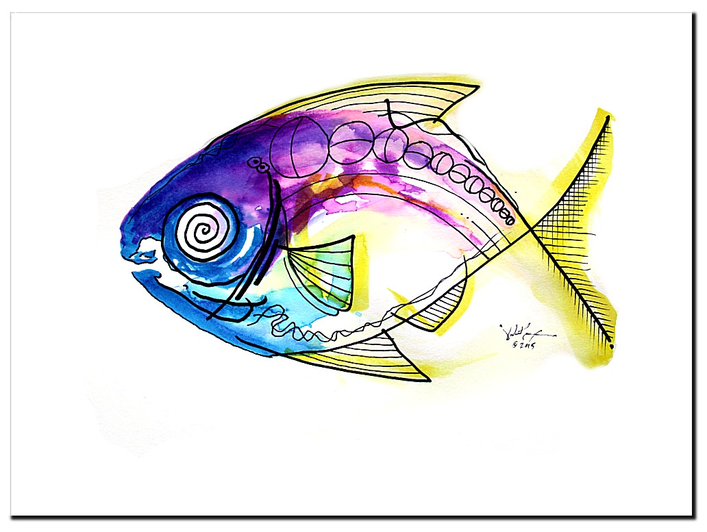 Genius Fish  Modern Abstract Fish Art Artwork Paintings J Vincent Scarpace