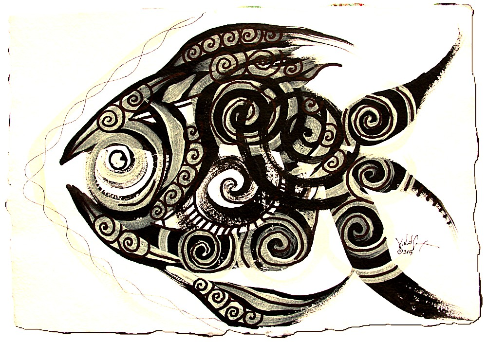 Nativemental Fish   Modern Abstract Fish Art Artwork Paintings J Vincent Scarpace