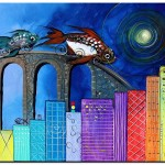 Fish City   Modern Abstract Fish Art Artwork Paintings J Vincent Scarpace