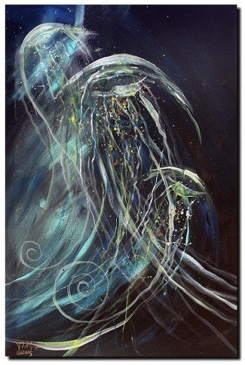 Jelly Fish   Modern Abstract Fish Art Artwork Paintings J Vincent Scarpace