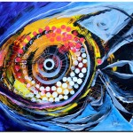 Crystal Fish on Violet and White  Modern Abstract Fish Art Artwork Paintings J Vincent Scarpace