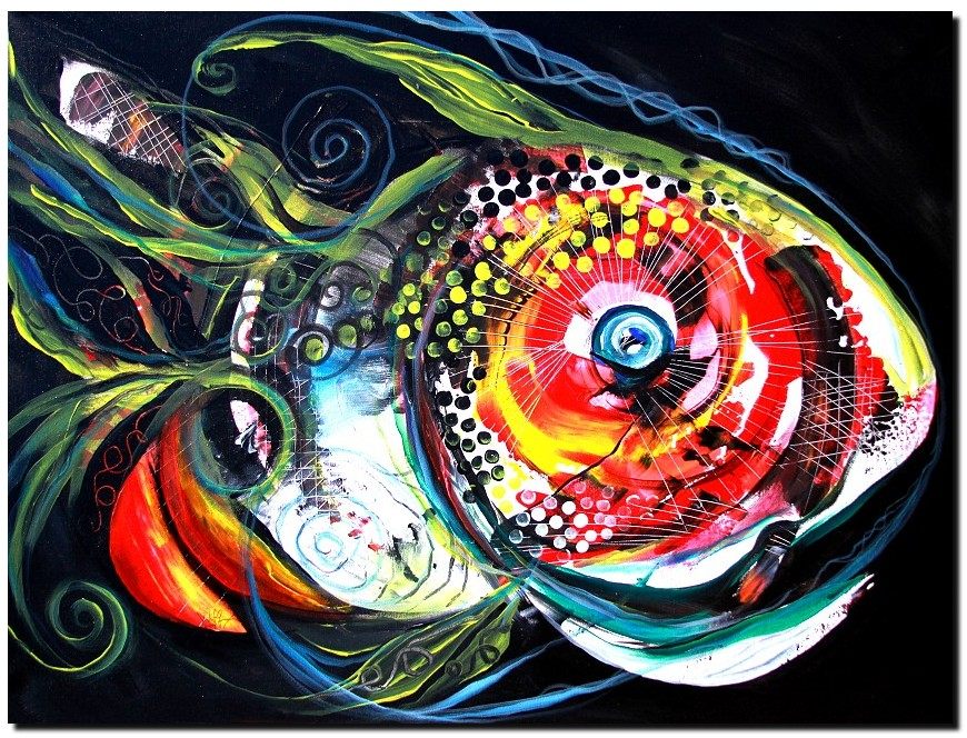 Abstract Baboon Fish  Modern Abstract Fish Art Artwork Paintings J Vincent Scarpace