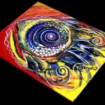 Violet Fish on Red and Yellow  Modern Abstract Fish Art Artwork Paintings J Vincent Scarpace
