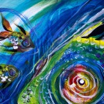 Two Wishes  Modern Abstract Fish Art Artwork Paintings J Vincent Scarpace