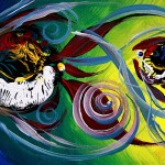 They Follow for a While  Modern Abstract Fish Art Artwork Paintings J Vincent Scarpace