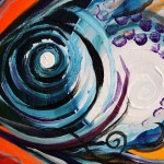 Syncro Fish on Red and Yellow  Modern Abstract Fish Art Artwork Paintings J Vincent Scarpace