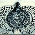 Barnacled Black  White  Modern Abstract Fish Art Artwork Paintings J Vincent Scarpace