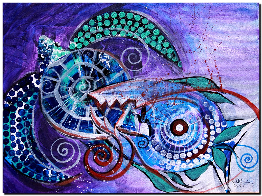 Fish Covers Turtle  Modern Abstract Fish Art Artwork Paintings J Vincent Scarpace