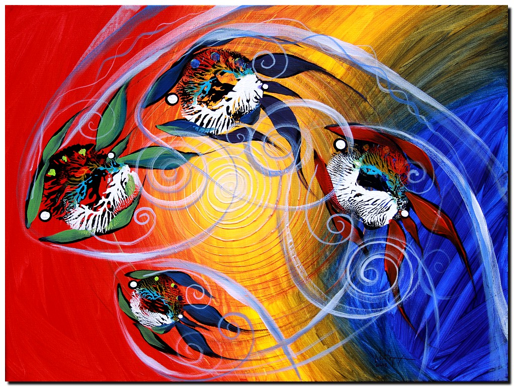 Moon Dance   Modern Abstract Fish Art Artwork Paintings J Vincent Scarpace
