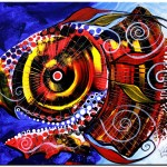 Swollen Red Cavity Fish  Modern Abstract Fish Art Artwork Paintings J Vincent Scarpace