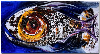 Fish of the Sacred Sea One  Modern Abstract Fish Art Artwork Paintings J Vincent Scarpace