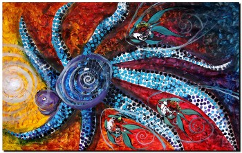 The Allegorical . Octopuss Desire to Eat the Sun  Modern Abstract Fish Art Artwork Paintings J Vincent Scarpace