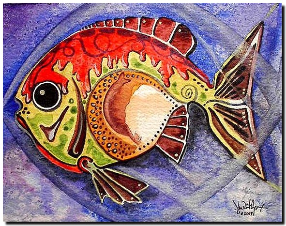 Small Fish   Modern Abstract Fish Art Artwork Paintings J Vincent Scarpace