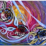 Blue eyed Blackfish Times Three  Modern Abstract Fish Art Artwork Paintings J Vincent Scarpace