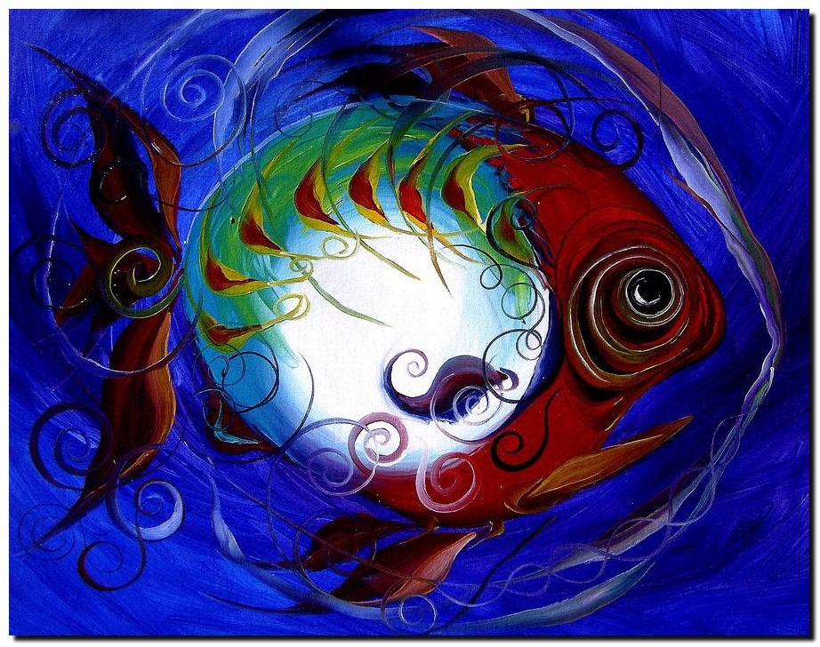 Storm Fish V  Modern Abstract Fish Art Artwork Paintings J Vincent Scarpace
