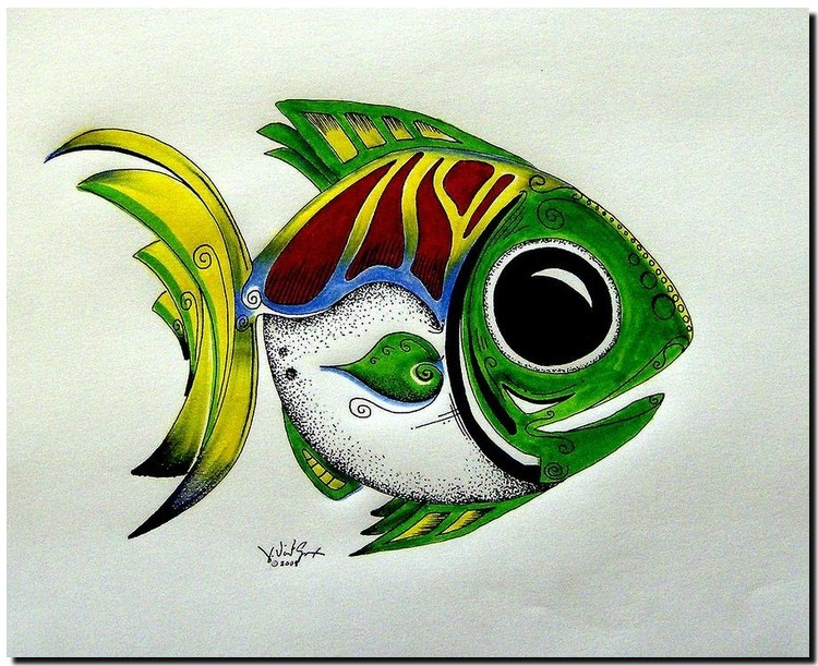 Fish Study   Modern Abstract Fish Art Artwork Paintings J Vincent Scarpace