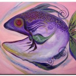 Melanie Fish One  Modern Abstract Fish Art Artwork Paintings J Vincent Scarpace