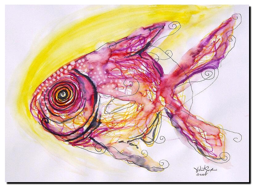 Scribble Fish with Sunlight  Modern Abstract Fish Art Artwork Paintings J Vincent Scarpace