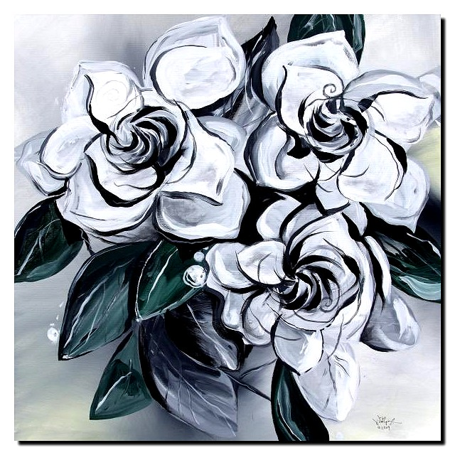 Abstract Gardenias  Modern Abstract Fish Art Artwork Paintings J Vincent Scarpace