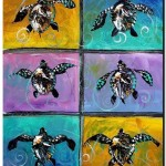 Baby Sea Turtle Six  Modern Abstract Fish Art Artwork Paintings J Vincent Scarpace