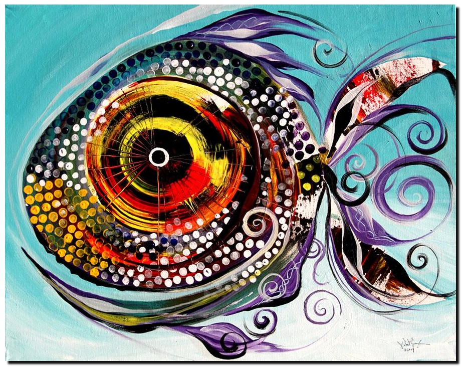Big Fish  Modern Abstract Fish Art Artwork Paintings J Vincent Scarpace