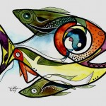 Eight Fish with Complex Wake  Modern Abstract Fish Art Artwork Paintings J Vincent Scarpace