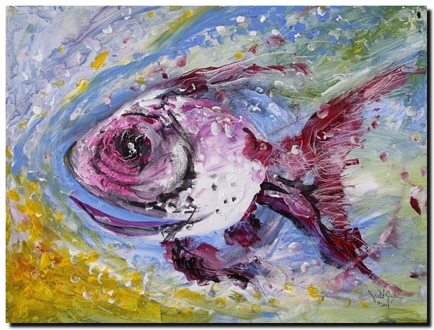 Monet Fish One  Modern Abstract Fish Art Artwork Paintings J Vincent Scarpace