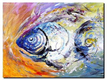 Monet Fish Three  Modern Abstract Fish Art Artwork Paintings J Vincent Scarpace