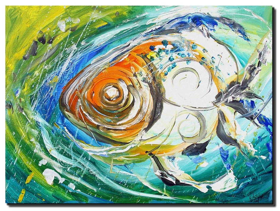 Monet Fish Two  Rainy Day Fish  Modern Abstract Fish Art Artwork Paintings J Vincent Scarpace