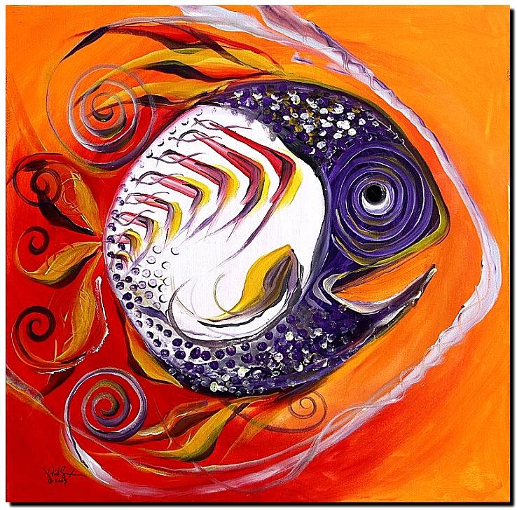 Purple faced Hebetudinous  Fish  Modern Abstract Fish Art Artwork Paintings J Vincent Scarpace