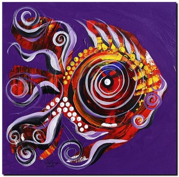 Slightly Cocky Rooster Fish  Modern Abstract Fish Art Artwork Paintings J Vincent Scarpace