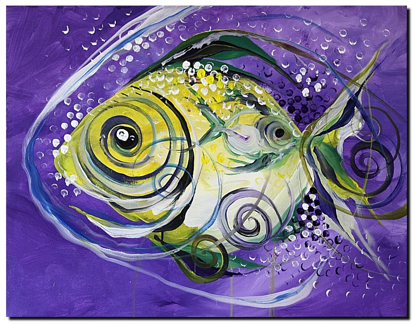 Three Pishes Fish  Modern Abstract Fish Art Artwork Paintings J Vincent Scarpace