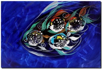 Four Makes Five  School of Family  Modern Abstract Fish Art Artwork Paintings J Vincent Scarpace