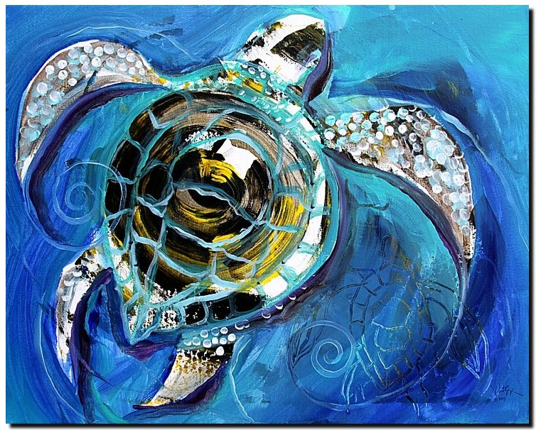 Abstract Sea Turtle in C Minor  Modern Abstract Fish Art Artwork Paintings J Vincent Scarpace