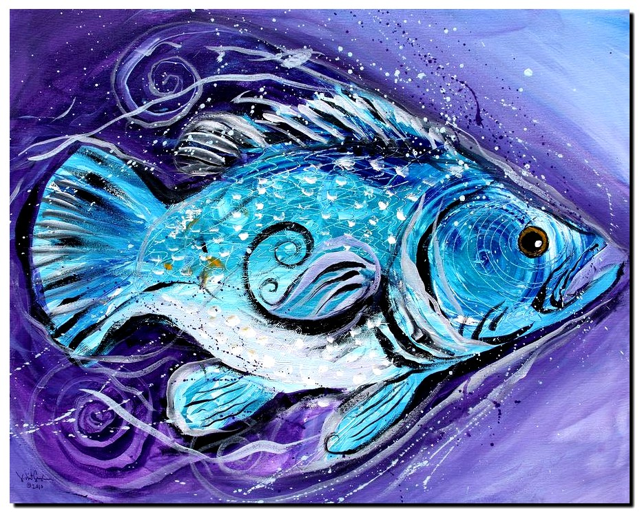Abstract Triple Fin  Modern Abstract Fish Art Artwork Paintings J Vincent Scarpace