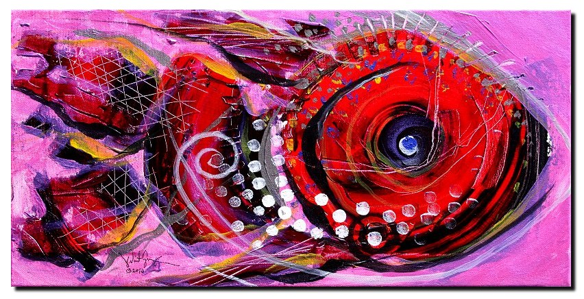 Crimson Queen  Modern Abstract Fish Art Artwork Paintings J Vincent Scarpace