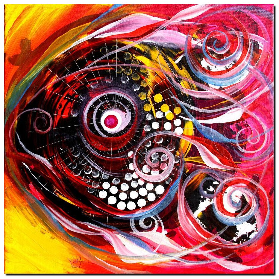 Happy Turmoil Fish  Modern Abstract Fish Art Artwork Paintings J Vincent Scarpace
