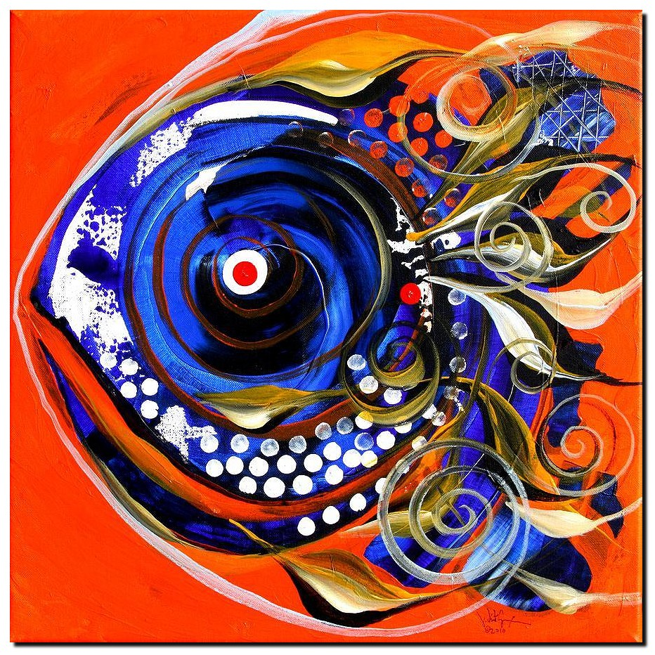 Icehole Fish  Modern Abstract Fish Art Artwork Paintings J Vincent Scarpace