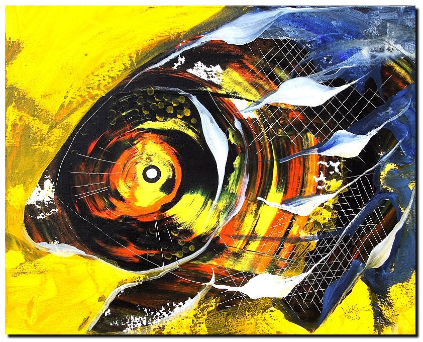 No Way Fish  Modern Abstract Fish Art Artwork Paintings J Vincent Scarpace