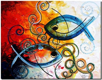 Purposeful Ichthus by Two  Modern Abstract Fish Art Artwork Paintings J Vincent Scarpace