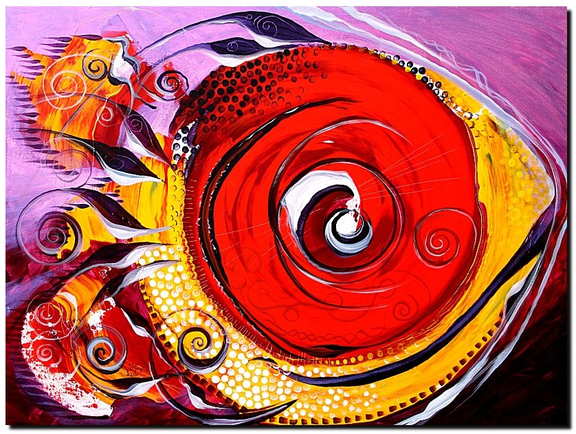 Red Moon Fish  Modern Abstract Fish Art Artwork Paintings J Vincent Scarpace