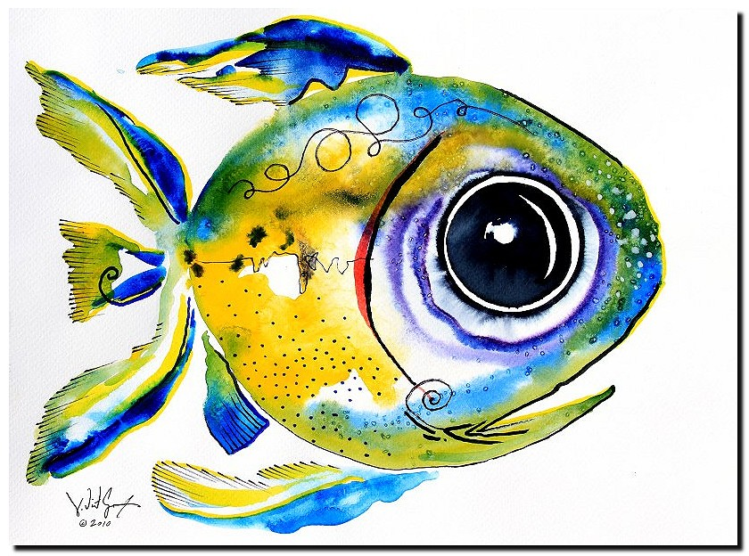 Stout Lookout Fish  Modern Abstract Fish Art Artwork Paintings J Vincent Scarpace