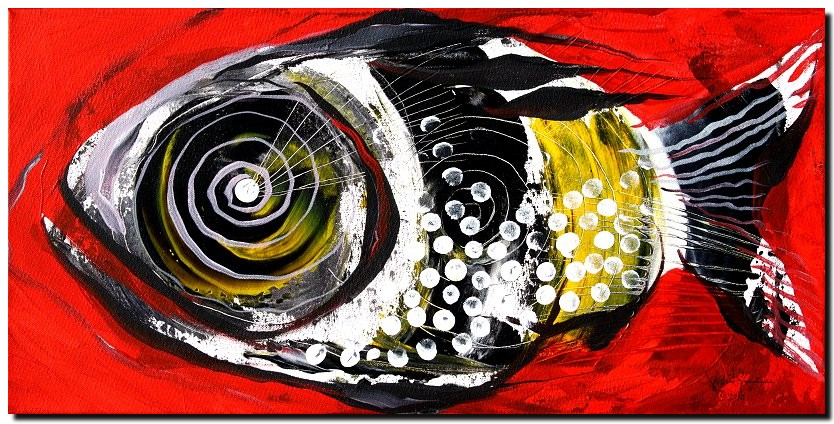 Tasty Cod in Red  Modern Abstract Fish Art Artwork Paintings J Vincent Scarpace